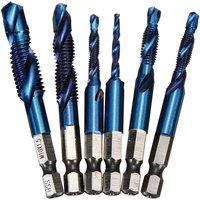 Drillpro - 6 Pcs Drill Bits 1/4 Hex Shank HSS Metric Thread High Speed ??Steel Screw Tap Tap Spiral Drill Bits Trapezoidal Tap M3-M10