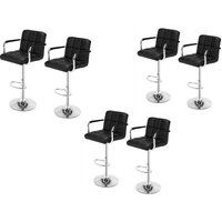 6 pcs indoor bar stool 360° rotatable chair with armrest height adjustable kitchen breakfast chair Black - Black