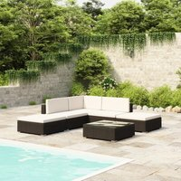 6 Piece Garden Lounge Set with Cushions Poly Rattan Black - YOUTHUP