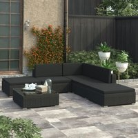 6 Piece Garden Lounge Set with Cushions Poly Rattan Black - Black - Vidaxl
