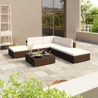 6 Piece Garden Lounge Set with Cushions Poly Rattan Brown - YOUTHUP