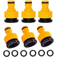 Soekavia - 6 Pieces 2 in 1 Adapter Fitting Connection 1/2 and 3/4 Tap Nose to Quick Connector for Garden Hose Yellow