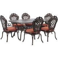 Beliani - Garden Dining Set Brown Aluminium Outdoor Table 6 Chairs Vintage