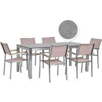 Beliani - 6 Seater Garden Dining Set Concrete Veneer HPL Top with Beige Chairs GROSSETO