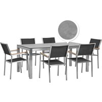 Beliani - 6 Seater Garden Dining Set Concrete Veneer HPL Top with Black Chairs GROSSETO