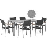 Beliani - 6 Seater Garden Dining Set Concrete Veneer HPL Top Black Rattan Chairs Grosseto