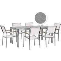 Beliani - 6 Seater Garden Dining Set Concrete Veneer HPL Top White Chairs Grosseto