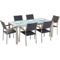 Beliani - 6 Seater Garden Dining Set Cracked Ice Glass Top with Black Chairs GROSSETO