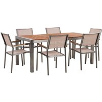 6 Seater Garden Dining Set Eucalyptus Wood Top with Beige Chairs GROSSETO - BELIANI