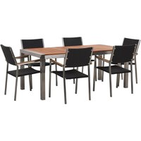 6 Seater Garden Dining Set Eucalyptus Wood Top with Black Rattan Chairs GROSSETO