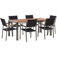 Beliani - 6 Seater Garden Dining Set Eucalyptus Wood Top Black Rattan Chairs Grosseto