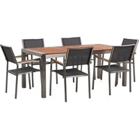 Beliani - 6 Seater Garden Dining Set Eucalyptus Wood Top Grey Synthetic Chairs Grosseto
