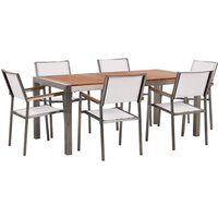Beliani - 6 Seater Garden Dining Set Eucalyptus Wood Top with White Chairs GROSSETO