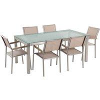 Beliani - 6 Seater Garden Dining Set Tempered Glass Top Beige Chairs Grosseto