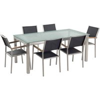 Beliani - 6 Seater Garden Dining Set Glass Table with Black Chairs GROSSETO