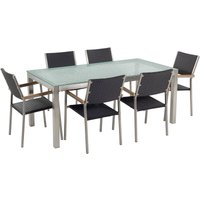 Beliani - 7 Piece Garden Dining Set Tempered Glass Table and Black Rattan Chairs Grosseto