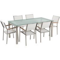 7 Piece Garden Dining Set Tempered Glass Table and White Fabric Chairs Grosseto