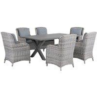 Beliani - 7 Piece Garden Dining Set Faux Rattan Grey Chairs Aluminium Table Outdoor Cascais