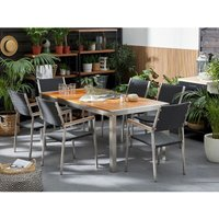 Beliani - 6 Seater Garden Dining Set Mahogany Top Rattan Chairs GROSSETO