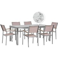 Beliani - 6 Seater Garden Dining Set Marble Veneer HPL Top with Beige Chairs GROSSETO