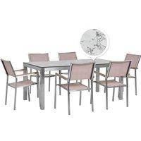 Beliani - 6 Seater Garden Dining Set Marble Veneer HPL Top Beige Chairs Grosseto