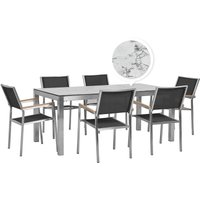 Beliani - 6 Seater Garden Dining Set Marble Veneer HPL Top with Black Chairs GROSSETO
