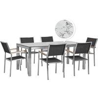 Beliani - 6 Seater Garden Dining Set Marble Veneer HPL Top Black Chairs Grosseto