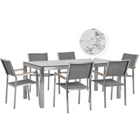 Beliani - 6 Seater Garden Dining Set Marble Veneer HPL Top with Grey Chairs GROSSETO