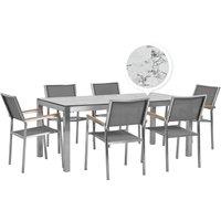 Beliani - 6 Seater Garden Dining Set Marble Veneer HPL Top Grey Chairs Grosseto
