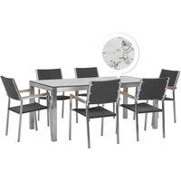Beliani - 6 Seater Garden Dining Set Marble Veneer HPL Top Black Rattan Chairs Grosseto