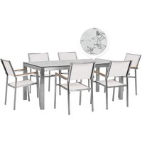 Beliani - 6 Seater Garden Dining Set Marble Veneer HPL Top with White Chairs GROSSETO