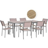 Beliani - 6 Seater Garden Dining Set Oak Veneer HPL Top with Beige Chairs GROSSETO