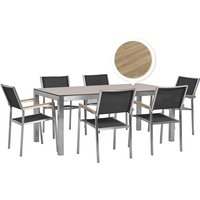 Beliani - 6 Seater Garden Dining Set Oak Veneer HPL Top with Black Chairs GROSSETO