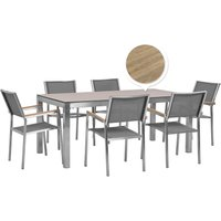 Beliani - 6 Seater Garden Dining Set Oak Veneer HPL Top with Grey Chairs GROSSETO