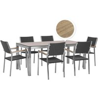 Beliani - 6 Seater Garden Dining Set Oak Veneer HPL Top with Rattan Black Chairs GROSSETO