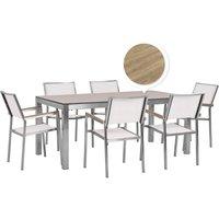 6 Seater Garden Dining Set Oak Veneer HPL Top with White Chairs GROSSETO