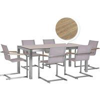 Dining Set HPL Oak Finish Top 180x90 Table 6 Beige Chairs Grosseto/Cosoleto