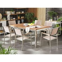 Beliani - 6 Seater Garden Dining Set Teak Wood Top with Beige Chairs GROSSETO
