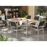 6 Seater Garden Dining Set Teak Wood Top Black Synthetic Chairs Grosseto