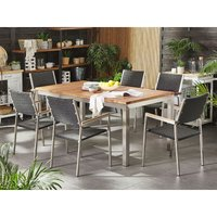 6 Seater Garden Dining Set Teak Wood Top with Rattan Black Chairs GROSSETO - BELIANI