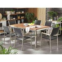 6 Seater Garden Dining Set Teak Wood Top with Rattan Black Chairs GROSSETO