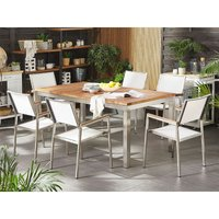 Beliani - 6 Seater Garden Dining Set Teak Wood Top White Synthetic Material Chairs Grosseto