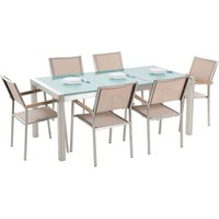 Beliani - 6 Seater Garden Dining Set Triple Plate Cracked Ice Glass Top with Beige Chairs GROSSETO