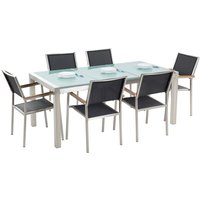 Beliani - 6 Seater Garden Dining Set Triple Plate Cracked Ice Glass Top with Black Chairs GROSSETO