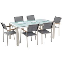 Beliani - 6 Seater Garden Dining Set Triple Plate Cracked Ice Glass Top Grey Chairs Grosseto