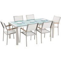 Beliani - 6 Seater Garden Dining Set Triple Plate Cracked Ice Glass Top with White Chairs GROSSETO
