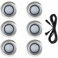 6 x 40mm LED Round IP67 Rated Garden Decking / Lights Kit - 3M Extension Cable - White - MINISUN