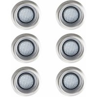 6 x 40Mm White LED Round Garden Decking / Kitchen Plinth Lights Kit - Ip67 - Silver