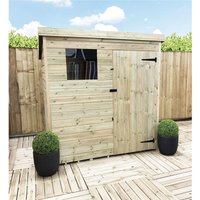 6 x 5 Pressure Treated Tongue And Groove Pent Shed With 1 Window + Single Door + Safety Toughened Glass