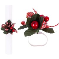 6 x Napkin Rings Set Berry Traditional Leaves Christmas Festive Decorative Red Floral Xmas Party Wedding Tableware Napkin Holder